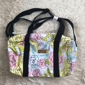 Benefit cosmetics floral canvas duffel bag